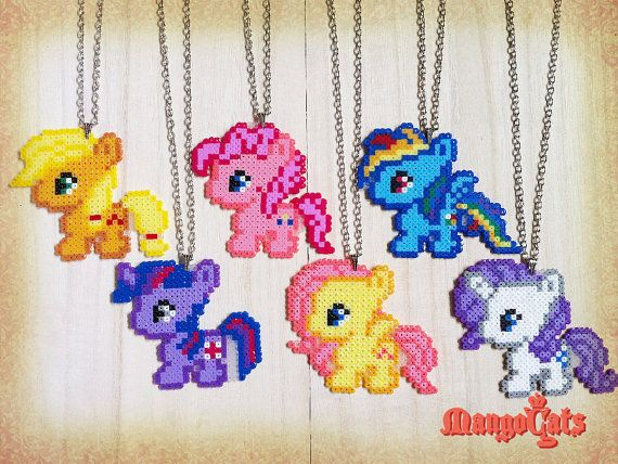 My Little Pony hama bead sprites (Rainbow dash, Fluttershy, Rarity, Applejack, Pinkie pie, Twilight sparkle)