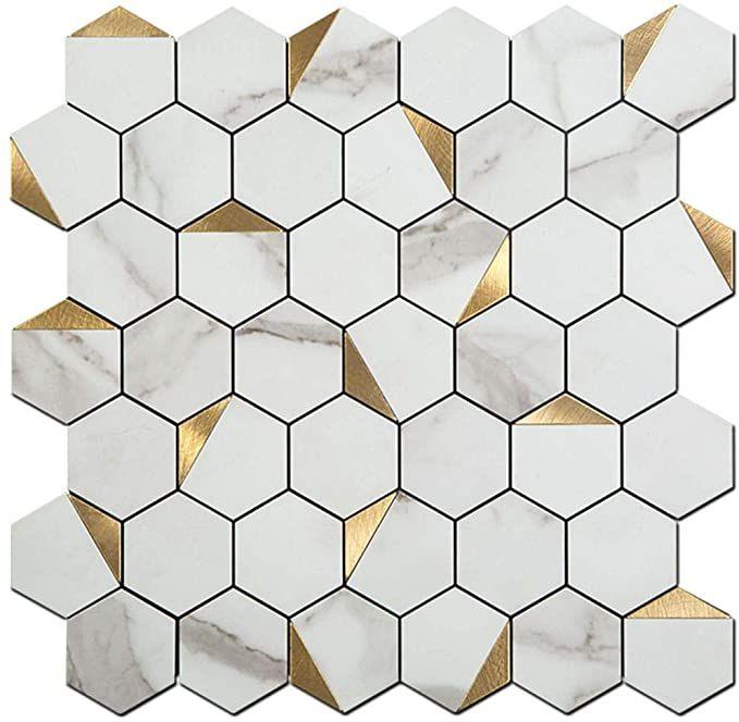 Soulscrafts Peel And Stick Tile Backsplash Pvc White Marble Stone With Gold Metal Hexagon Tile Fo Stick Tile Backsplash Backsplash Bathroom Wall Stick On Tiles