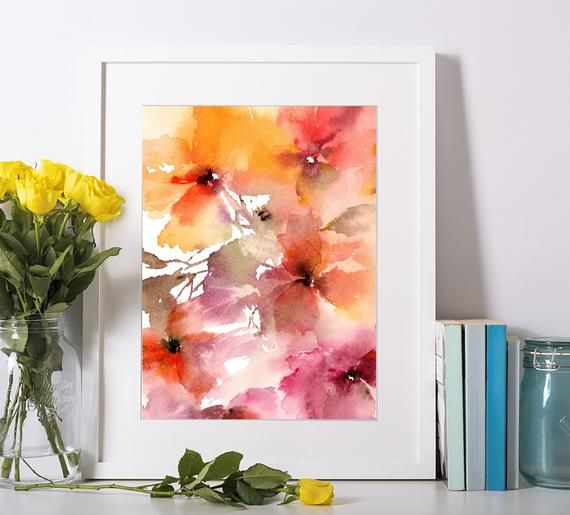 Watercolor Floral Giclee Print Abstract Flowers Painting Floral