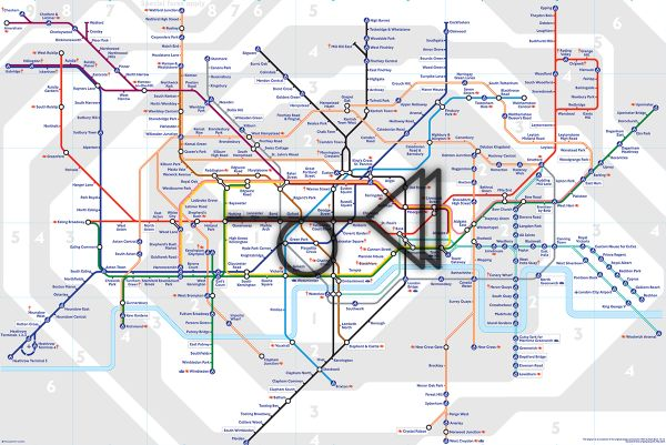 Trystero muted posthorn superimposed upon London tube map. #Trystero #Psychogeography