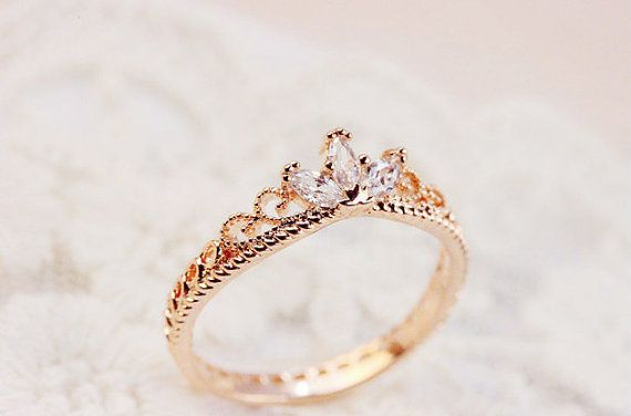 Bestow Me Rose Gold Crown Ring by DaintyPalor on Etsy