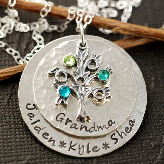 Hand Stamped Grandma Birthstone Necklace {ELEANOR}, $125.00 (http://www.wholesouljewelry.com/hand-stamped-grandma-birthstone-necklace-eleanor/)