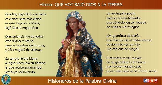 MISIONEROS DE LA PALABRA DIVINA: HIMNO LAUDES - QUE HOY BAJÓ DIOS A LA TIERRA