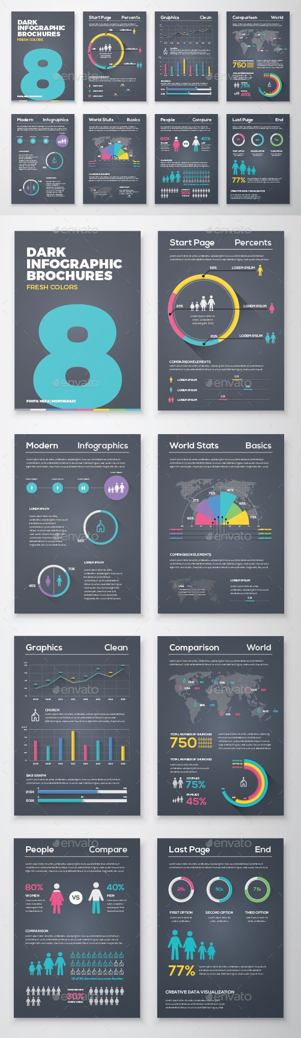 Dark Infographic Brochure Vector Elements Template #design Download: http://graphicriver.net/item/dark-infographic-brochure-vector-elements-kit-8/11687537?ref=ksioks
