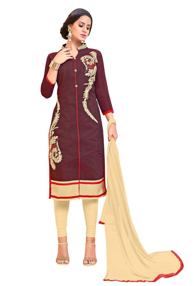 Dark Brown #Chanderi #Cotton #Shalwar #Kameez #nikvik  #usa #designer #australia #canada #freeshipping #dress #suits
