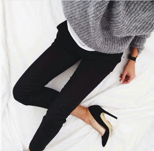 Black pants and heels, grey sweater LE CATCH