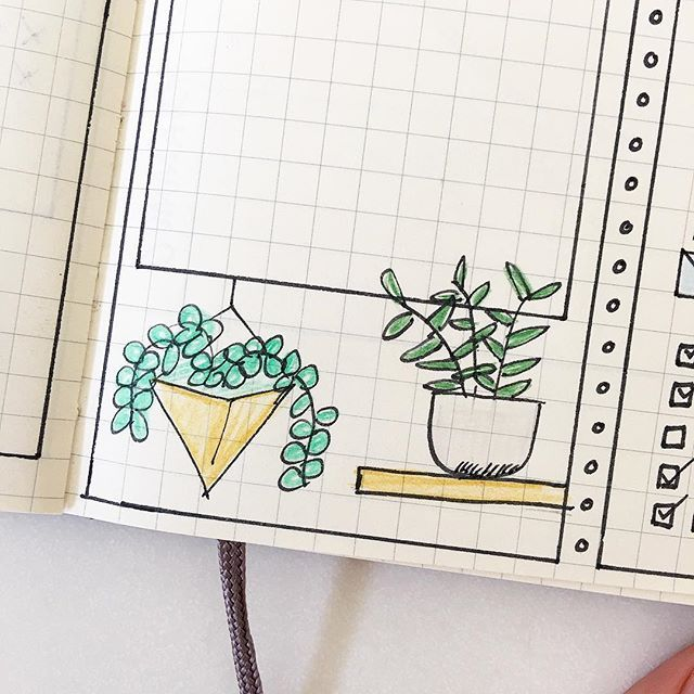 My Bullet Journal drawing prompt for March: Indoor Plants. Click through for my full list of monthly drawing prompts.