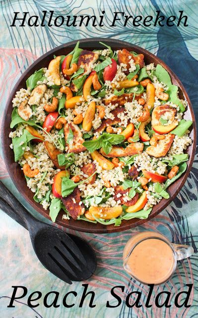 Food Lust People Love: This halloumi freekeh peach salad features pan-fried salty cheese, nutty freekeh and sweet peaches along with baby arugula and spicy cashews for a delightfully fresh and filling meal. Drizzle it with chili peach vinaigrette or your favorite dressing.