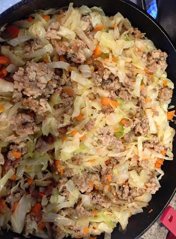 If you like egg rolls, this is amazing and super easy. 1 bag coleslaw mix 1 lb pork sausage 2 cloves garlic minced (or garlic pwdr) 1 tsp ground ginger Salt to taste 1/4 c onion diced Brown the sausage in a large skillet and add the other ingredients right on top. Cover and cook on the stove top about 5 min on med. remove lid, stir/toss and taste. Finish to your taste/texture preference.