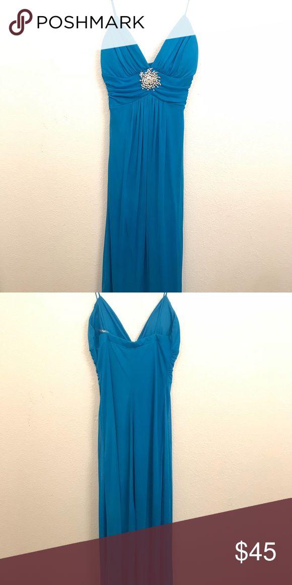 Blue evening dress Gently used. Long, spaghetti strap evening dress. B. Smart Dresses Prom