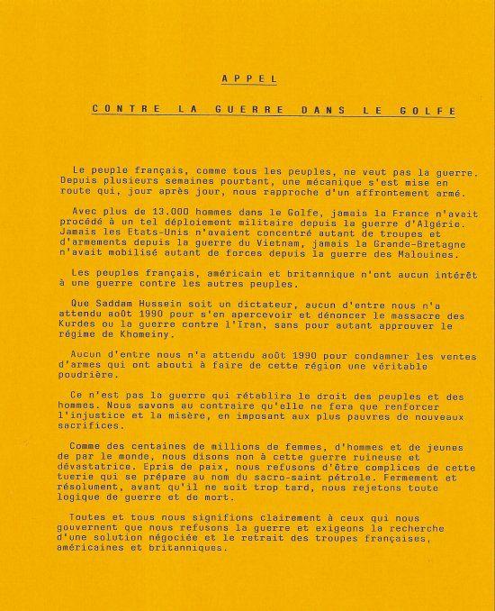 Appel des 75 contre la guerre du Golfe (1990-91) - Denis Langlois, écrivain, avocat.