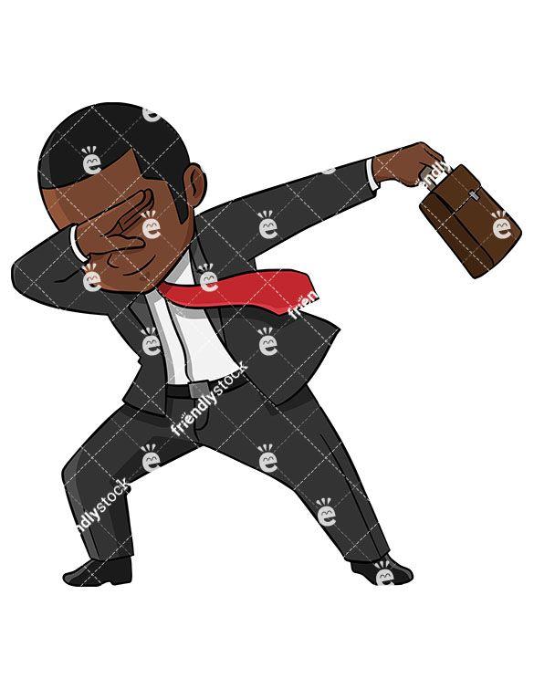 Dabbing Black Businessman in 2019 | Vector clipart, Free