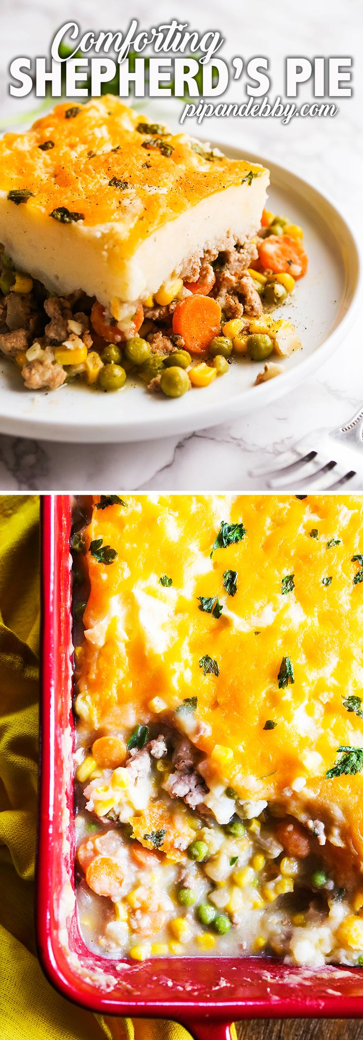 This classic, comforting Shepherd's Pie recipe will leave everyone, big and small, wanting more. A meaty, veggie-packed layer is covered by creamy, dreamy mashed potatoes and topped with melty cheese for good measure! This is a great weeknight meal and also the perfect party fare! #comfortfood #shepherdspie #dinner