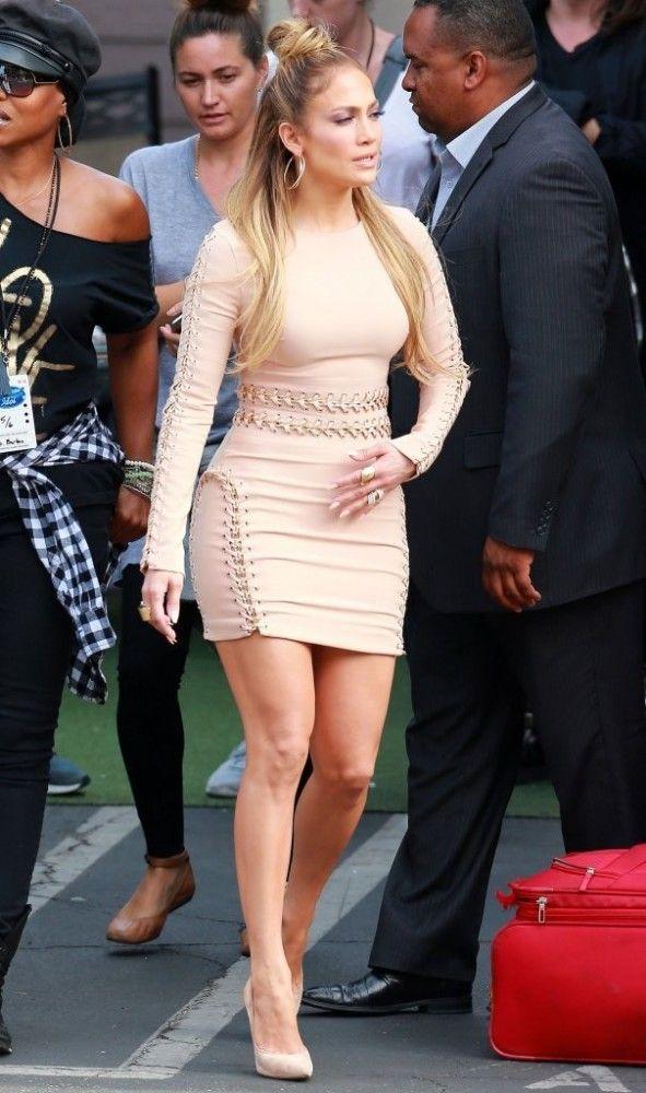 Jennifer Lopez in a House of CB chain detail dress.