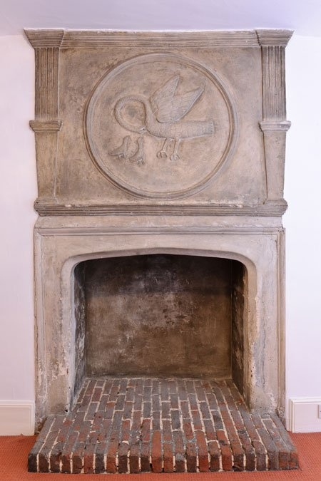 Look behind the curious Pelican fireplace .... there's a priest hole...