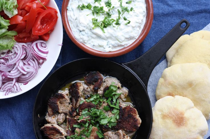 Homemade pita with lemon pork