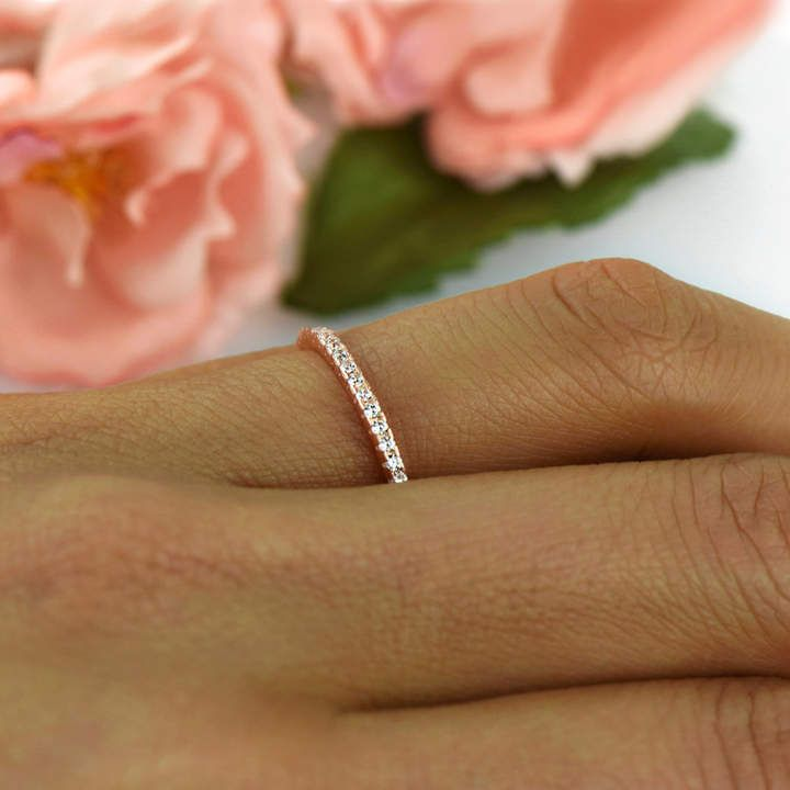 Etsy Delicate Half Eternity Wedding Band, Bridal Ring, 1.5mm Stacking Ring, #ad Round Man Made Diamond Simula