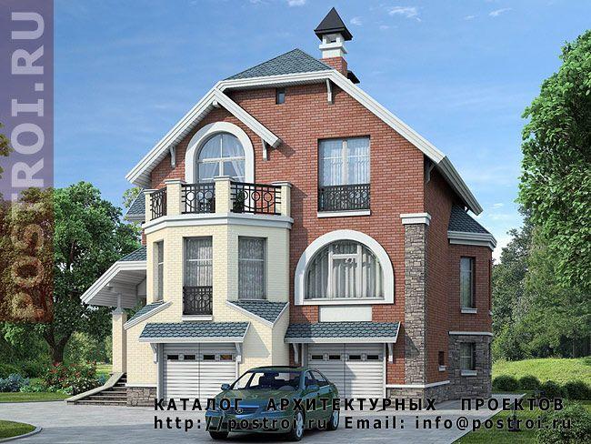 Проект трехэтажного дома N-230-1P с двумя гаражами и сауной