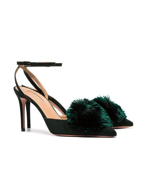 bca3fd2d9 Aquazzura green powder puff 85 silk and leather pumps | Shoes ...