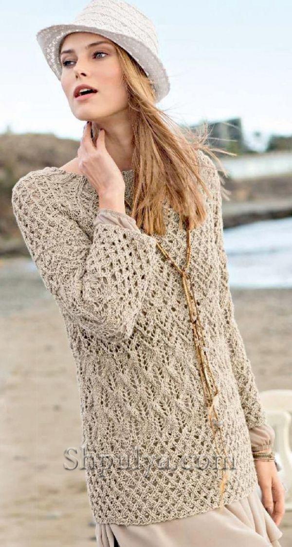 Ажурный пуловер с сочетанием узоров