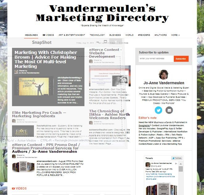 "Interested in CURRENT news from EXPERTS?  | WHAOOoooo! YOU are FEATURED in the ""Vandermeulen's Marketing Directory""! http://paper.li/conquerall/1347054794  CONGRATULATIONS!!! 