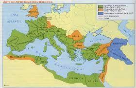 11 – El final del Imperio romano en los siglos IV/V comprendía todas las tierras ribereñas del Mediterráneo y tenía como limites extremos el Atlántico, los ríos Rin y Danubio, el mar Negro, el rio Éufrates y la línea de los infranqueables desiertos del norte de África. Ese era prácticamente el espacio del mundo civilizado de Occidente.