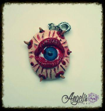 Handmade Polymer Clay Gorey Monster Eye Pendant