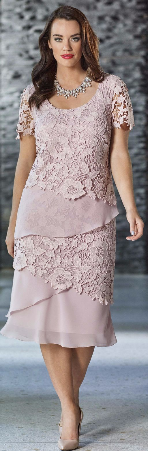 Fully lined dress Layers of chiffon and lace Lace sleeves Colour: Dusky Pink…