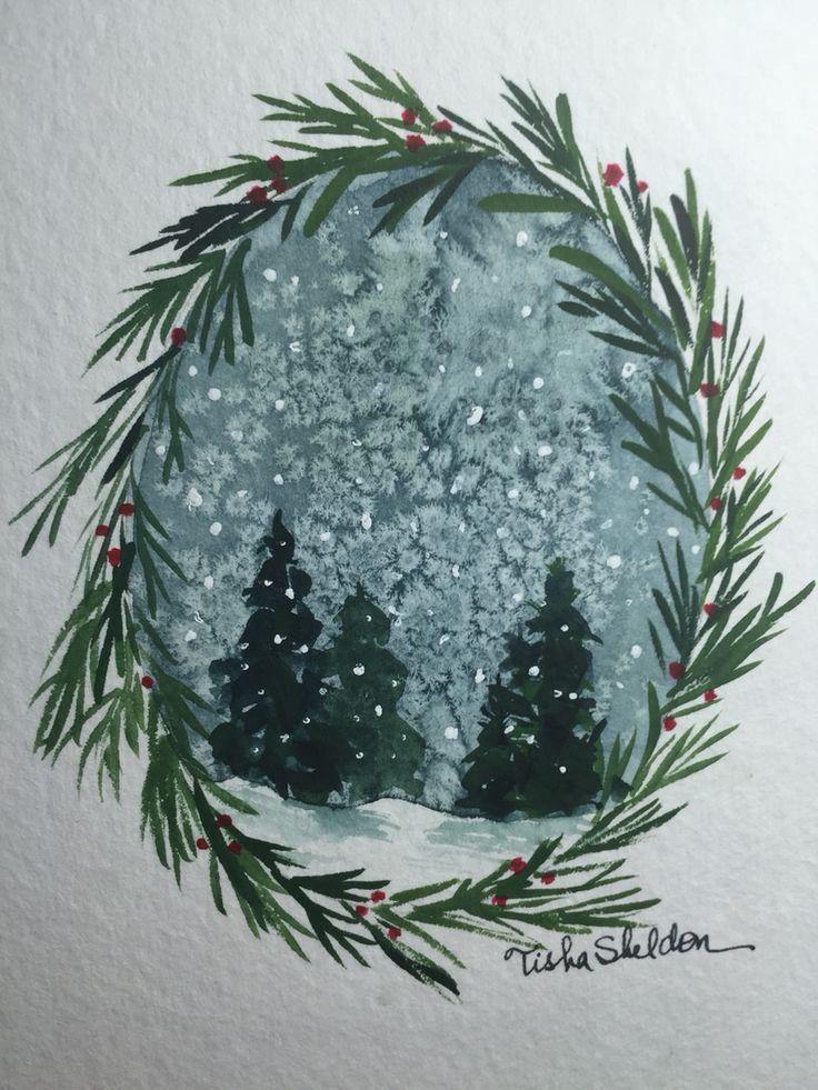 Watercolor by Tisha Sheldon 2015 Christmas Card
