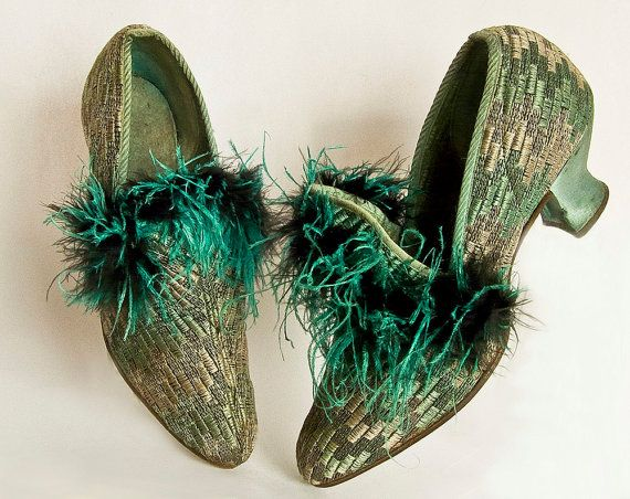 1920's Shoes with Ostrich Feather Trim.