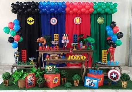 Resultado de imagem para decoração festa vingadores baby