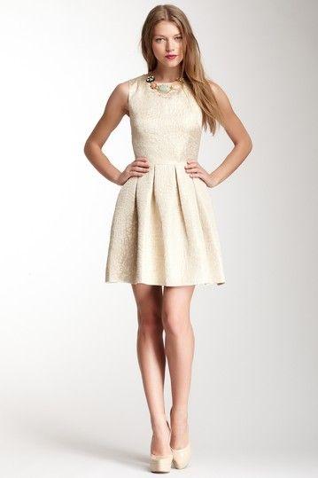 Sleeveless A-Line Jacquard Dress