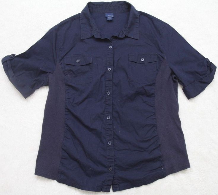 Navy Blue Dress Shirt XL Solid Womens Cotton Button Up 2 Pocket Basic Editions #BasicEditions #ButtonDownShirt #Casual