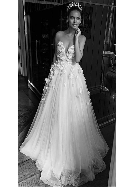 Magbridal Romantic Tulle & Organza Sheer Jewel Neckline A-line Wedding Dress With 3D Flowers & Beadings