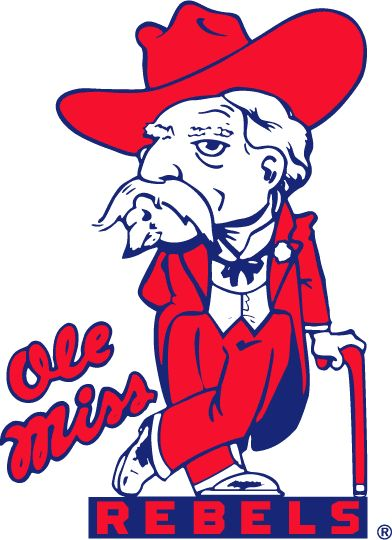 Mississippi Rebels Primary Logo (1970) - Southern Gentleman dressed in red standing on script