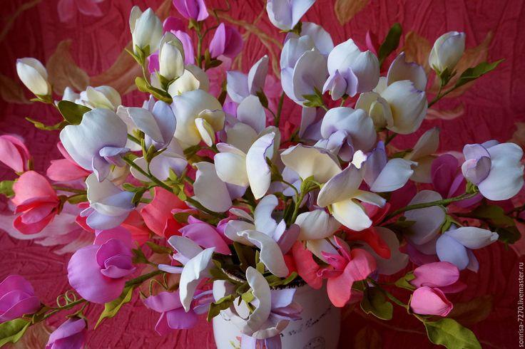 """Купить Интерьерная композиция """"Душистый горошек"""" - комбинированный, ваза с цветами, интерьерное украшение, интерьерная композиция"""