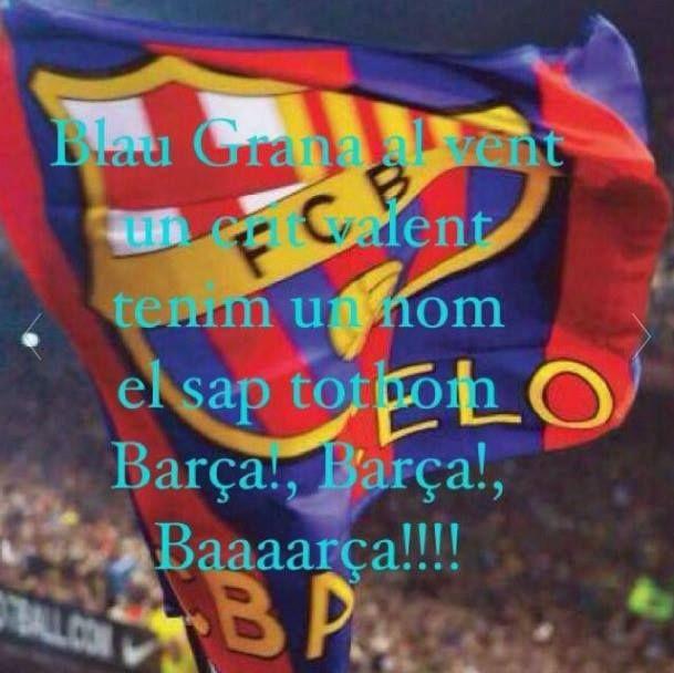 Escudo del Barca y estribillo del Himno del Barça.