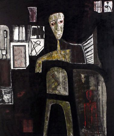 My heart is not dried up, 2003, oil, enamel, pigments, canvas on box, 200x170 cm