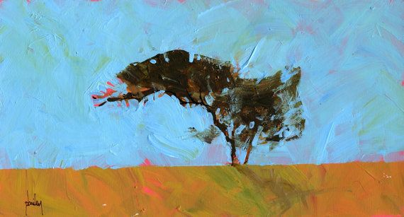 Semi-abstract landscape original painting - Desert tree