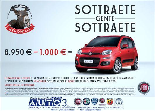 Operazione MENO MILLE - 8.950 € - 1.000 SOTTRAETE GENTE SOTTRAETE!  http://www.nuovaauto3-fcagroup.it/fiat/promozioni#82093