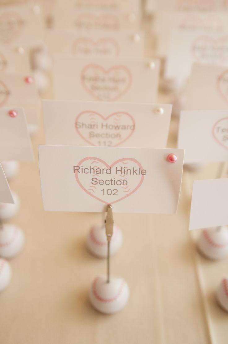Baseball themed wedding place cards