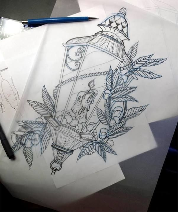 #tattoo idea candle lantern pearls vines roses