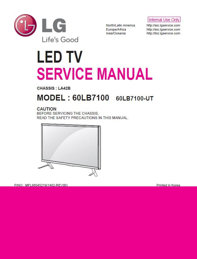 lg 60lb7100 ut smart 3d led tv service, repair and factory technicians  guide  this specific service manual provides you with in-depth technical  information