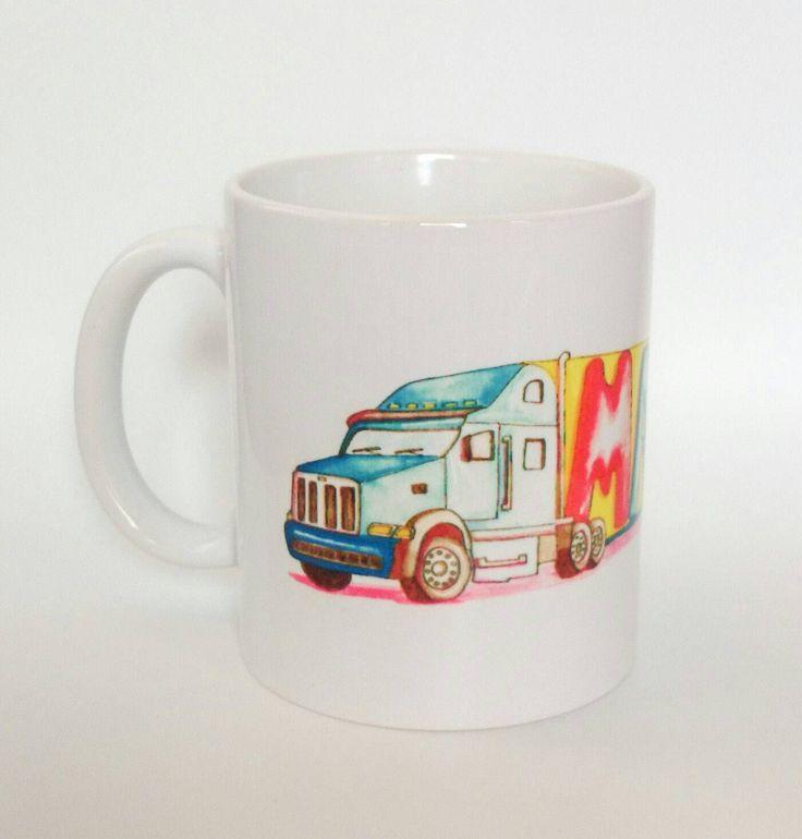 Man Mug. Handmade Art. Watercolour Artist Mug. Lorry Mug. Truckers Mug. Truck drivers Mug. Lorry drivers mug. Gift Box. Man Gift. by SueRocheIllustration on Etsy https://www.etsy.com/listing/246630488/man-mug-handmade-art-watercolour-artist