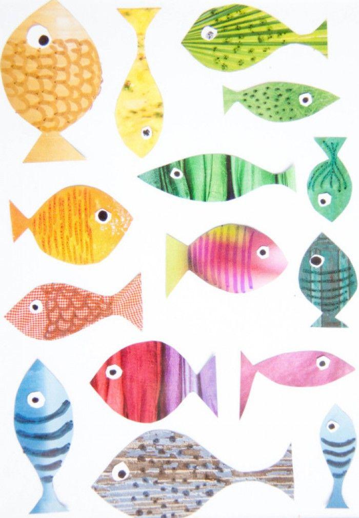Knip uit tijdschriften mooie gekleurde vlakken uit. Knip uit deze gekleurde vlakken eenvoudige vormen van visjes (liefst verschillend). leg de verschillende gekleurde visjes op een vel wit papier en rangschik ze een beetje zoals jij het leuk vindt. Geef ze oogjes en teken met viltstiften lijnen en schubben op de visjes. Hierna plak je ze vast en maak je je eigen schilderij. Niet alle viltstiften zijn geschikt om op tijdschriftenpapier te tekenen.