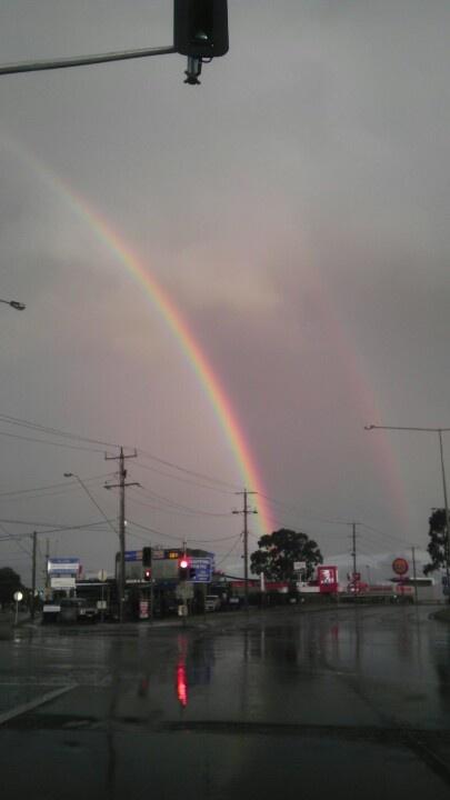 Double rainbow over Melbiurne