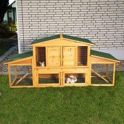 XXL kanihäkki, 209,95€. Häkissä on kaksi kerrosta ja rampit, joita pitkin lemmikki pääsee kiipeilemään. Ilmainen toimitus! #kanihäkki