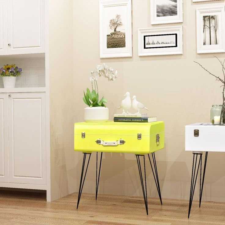 Home Bedside Cabinet Table Bedroom Nightstand Furniture Trunk Yellow Modern Legs #HomeBedsideCabinet #Modern