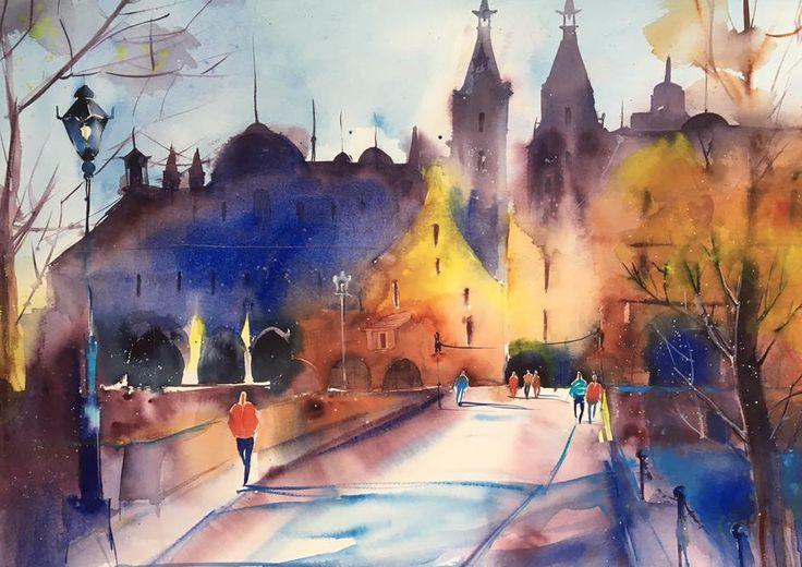Würzburg. Elena Lebsack 2017 #акварель #живопись #архитектура #рим #германия #скетч #скетчбук #набросок #эскиз #пленэр #watercolor #watercolorpainting #sketch #sketchbook #aquarelle #italy #rome #architecture #pleinair