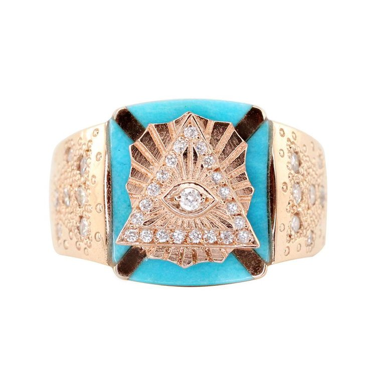 14kt gold diamond and turquoise pyramid eye ring – Luna Skye by Samantha Conn